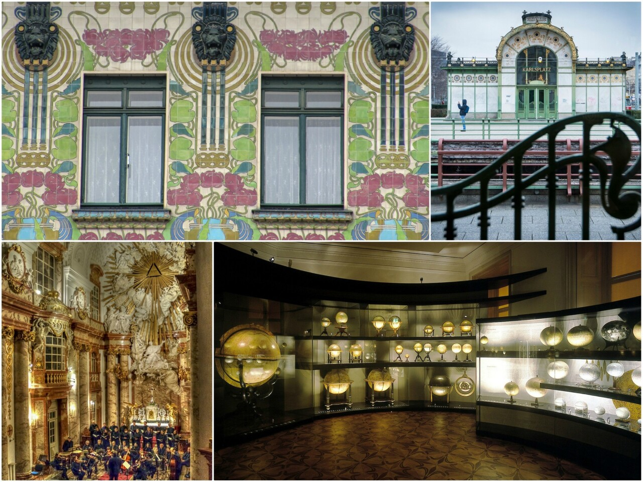 Clockwise from top left: The Majolica House; Karlsplatz Stadtbahn Station; The Globe Museum of the Austrian National Library; St. Charles Church.