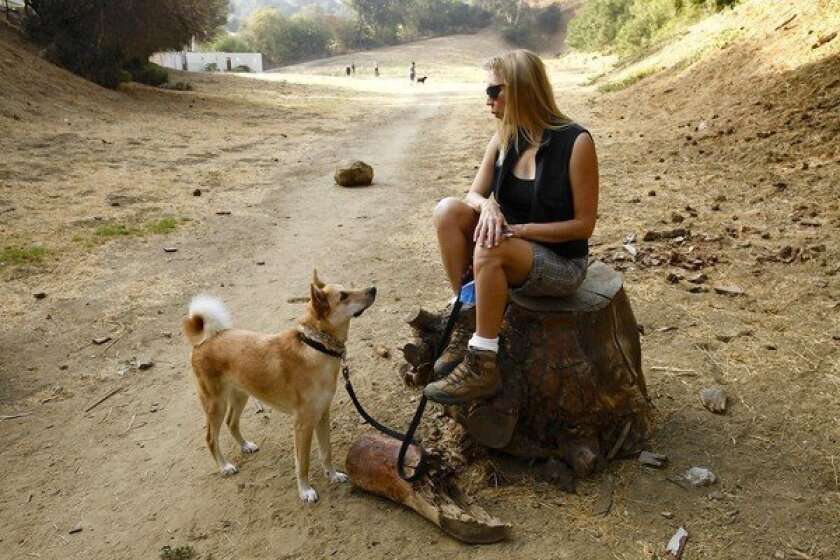 Diane Edwardson and her dog, Diego, walk the trails and enjoy the fresh air of a 10.2-acre lot in Silver Lake that she has fought for more than 20 years to keep as open space.