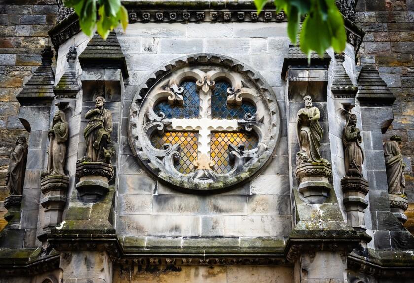 Stained glass window of Rosslyn Chapel outside Edinburgh, Scotland