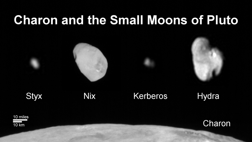 This composite image shows a sliver of Pluto's large moon, Charon, and all four of Pluto's small moons, as resolved by the Long Range Reconnaissance Imager on the New Horizons spacecraft.