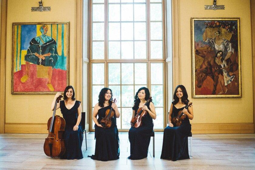 Aizuri Quartet featuring cellist Karen Ouzounian, violinist Miho Saegusa, violist Ayane Kozasa and violinist Zoë Martin-Doike.