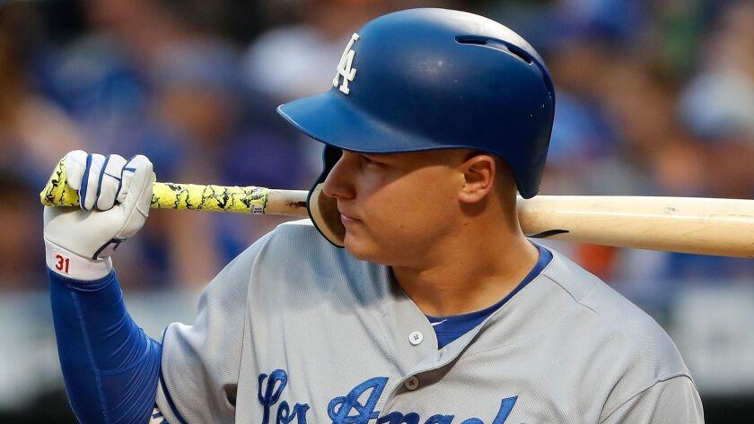 In this Friday, Aug. 4, 2017 photo, Los Angeles Dodgers' Joc Pederson prepares to bat against the Ne