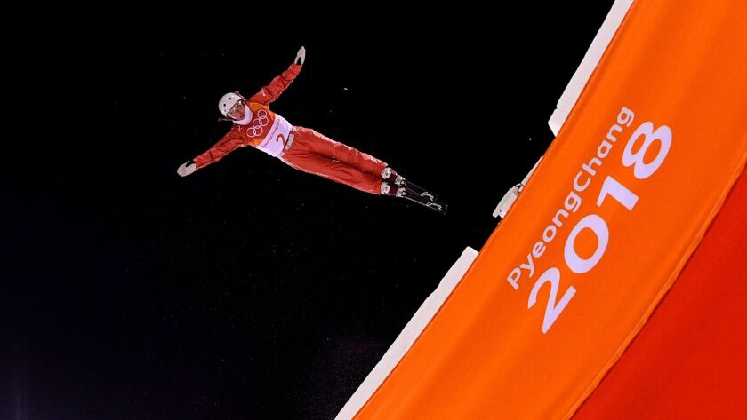 Belarus' Hanna Huskova takes a warm up run ahead of the women's aerials final event during the Pyeongchang Winter Olympics on Feb. 16.