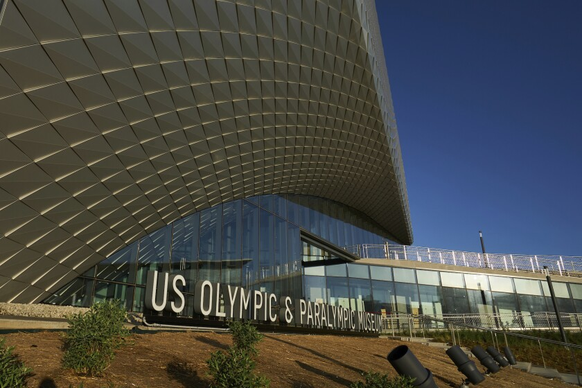 This July 17, 2020 photo provided by the U.S. Olympic & Paralympic Museum shows the U.S. Olympic Museum in Colorado Springs, Colo. The U.S. Olympic and Paralympic Museum announced Monday, July 20, 2020 that it will open July 30. The museum, located in downtown Colorado Springs, cost around $91 million and will feature 12 exhibits over 60,000 square feet. It will have a first-of-its-kind tribute to the 1980 Olympic team, which was forced to miss the Moscow Games because of a boycott. (Bill Baum/U.S. Olympic & Paralympic Museum via AP)