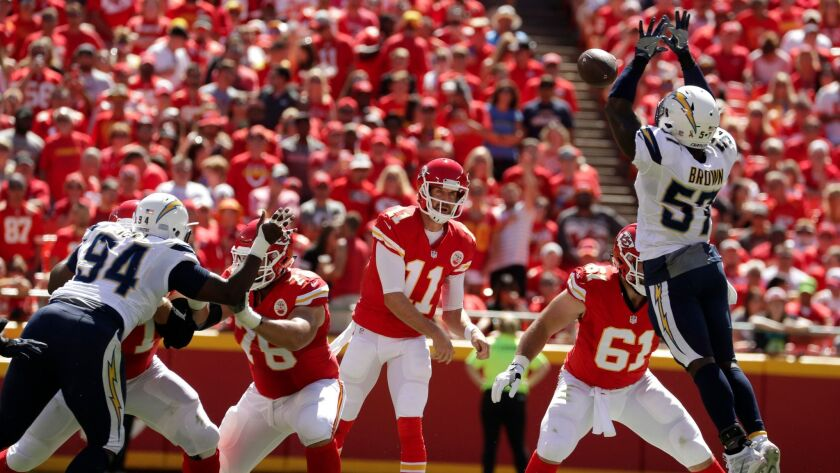 San Diego Chargers linebacker Jatavis Brown (57) deflects a throw by Kansas City Chiefs quarterback Alex Smith (11) during the first half of an NFL football game in Kansas City, Mo., Sunday, Sept. 11, 2016. (AP Photo/Charlie Riedel)