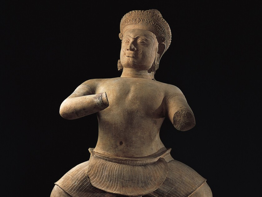 Temple Wrestler, c. 925-50, Cambodia: Koh Ker, Angkor period, 900-975, Sandstone, 61-3/4 in. (156.8 cm), Norton Simon Art Foundation.
