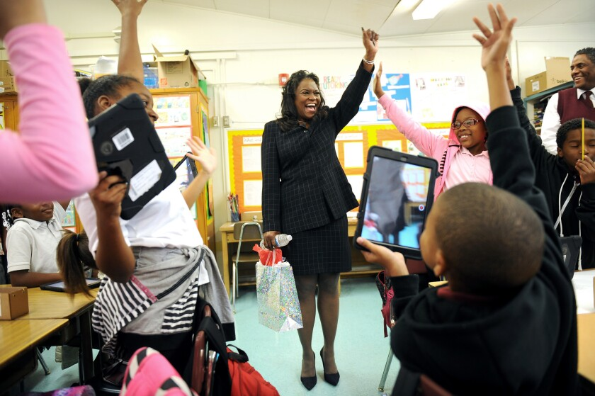 L.A. Unified Supt. Michelle King visited Windsor Hills Elementary School in Los Angeles soon after she became superintendent.
