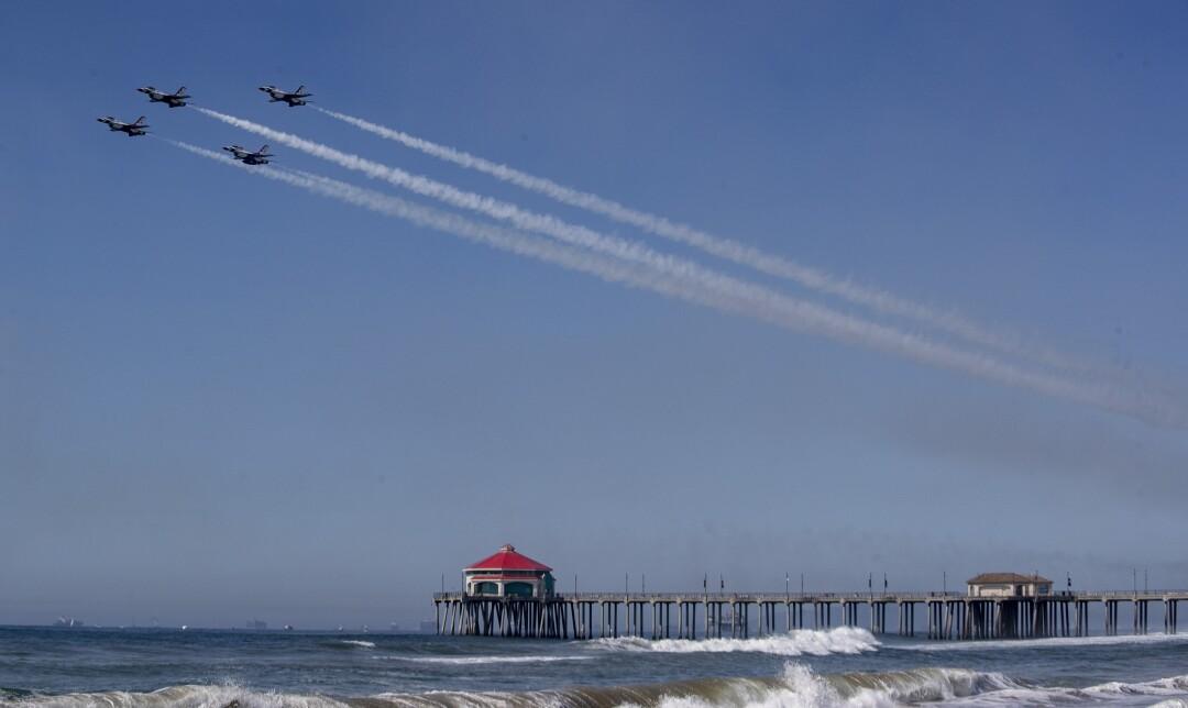 U.S. Air Force Thunderbirds streak across the sky