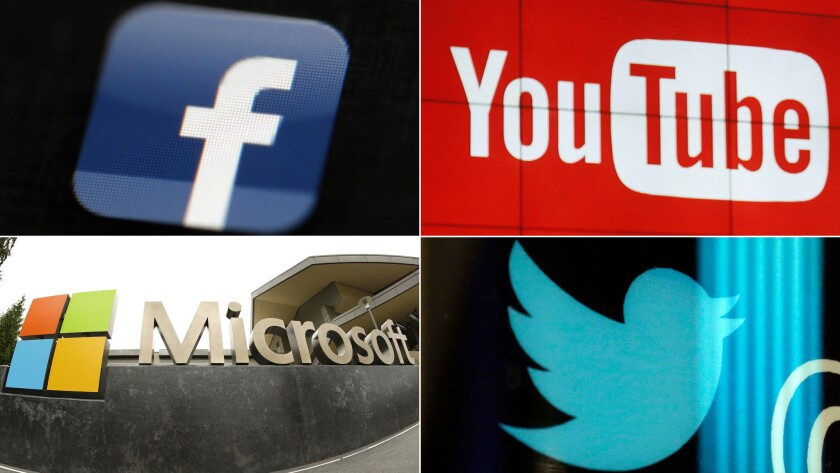 Facebook, YouTube, Microsoft and Twitter