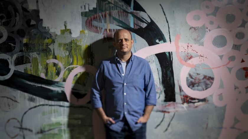 """Eric Kripke, co-creator of the science fiction time-travel series, """"Timeless,"""" as well as behind the shows """"Supernatural"""" and """"Revolution,"""" is photographed at his production office in Santa Monica."""