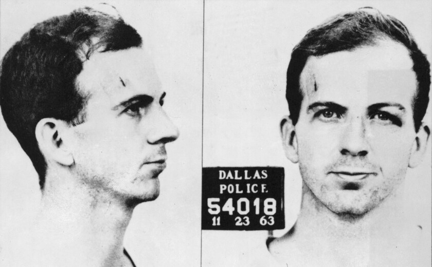 Lee Harvey Oswald, in a mug shot taken by the Dallas Police Department after his arrest in November 1963.