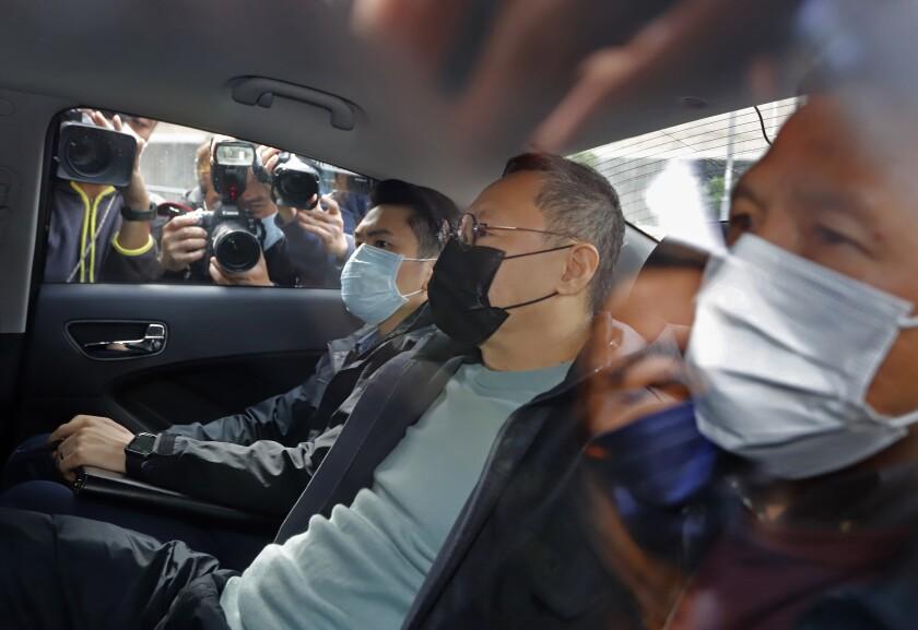 Former law professor Benny Tai in a car.