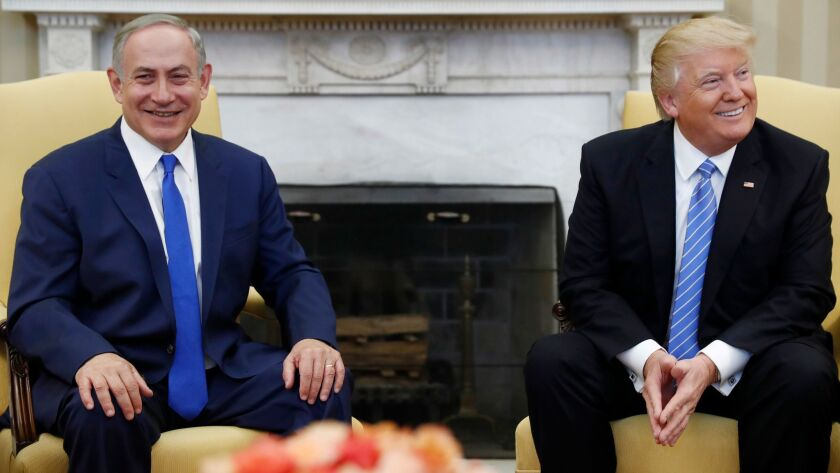 Israeli Prime Minister Benjamin Netanyahu meets President Trump on Feb. 15 in the Oval Office.