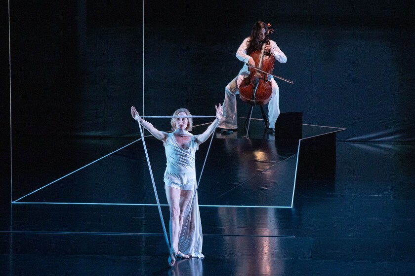 Wendy Whelan, left, and Maya Beiser  in 'The Day' at Royce Hall.