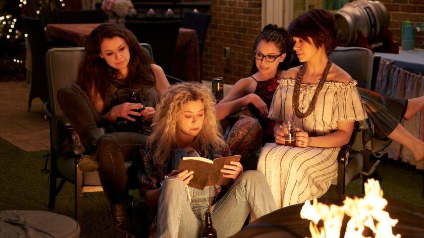 Sarah (Tatiana Maslany), Helena (Tatiana Maslany), Cosima (Tatiana Maslany), and Alison (Tatiana Mas