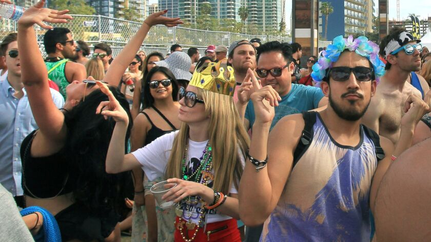 Festival goers dance to the music of Trippy Turtle at the first edition of CRSSD Festival in 2015..