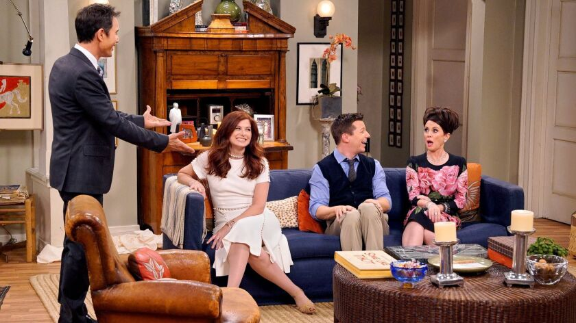 """Eric McCormack, left, Debra Messing, Sean Hayes and Megan Mullally in """"Will & Grace,"""" which was saluted in a new GLAAD report about LGBTQ characters on scripted TV."""