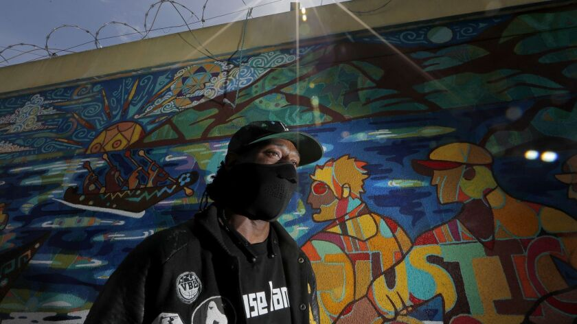 LOS ANGELES, CALIF. - MAY 17, 2019. Crushow Herring lives on skid row. His alter-ego, an artist name