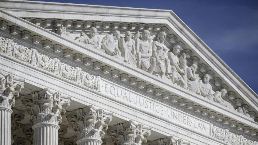 The west pediment of the U.S. Supreme Court building in Washington.
