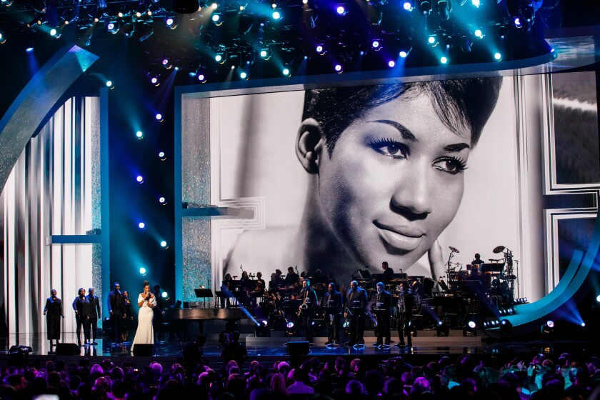 Jennifer Hudson performs Sunday during a Recording Academy tribute to the late Aretha Franklin at the Shrine Auditorium.