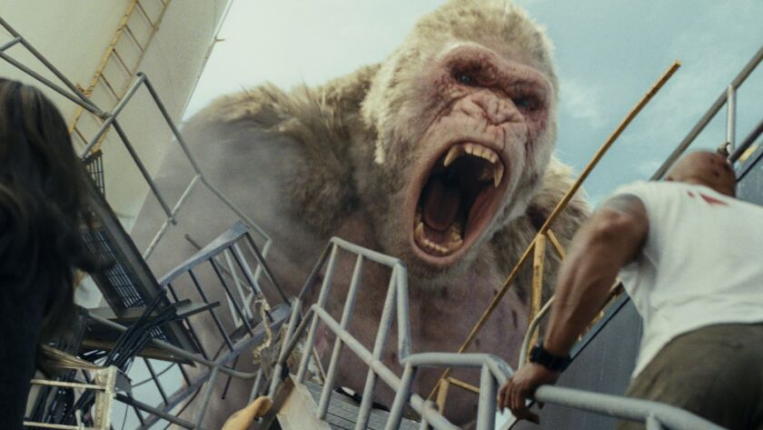 """A scene from New Line Cinema's and ASAP Entertainment's action adventure """"RAMPAGE,"""" a Warner Bros. P"""