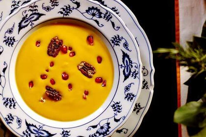 Garnish with fresh pomegranate seeds and candied pecans -- perfect for the holiday table. Kabocha squash soup with pomegranate seeds
