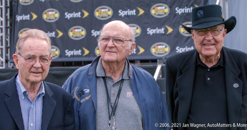 Phil Hill, Shav Glick and Carroll Shelby at California Speedway in 2006