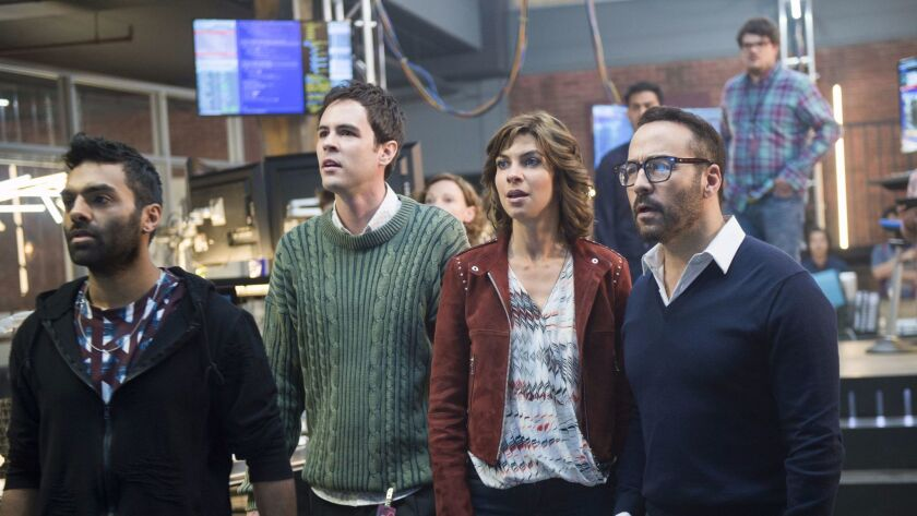 This image released by CBS shows Jeremy Piven, from right, Natalia Tena, Blake Lee and Jake Matthews