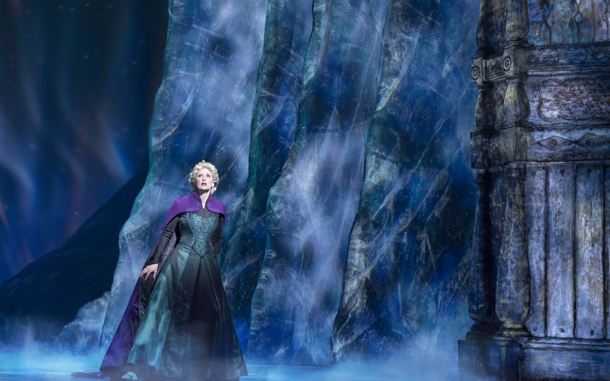 "Projection design brought Elsa's (Caissie Levy on Broadway) powers to life onstage in ""Frozen."""