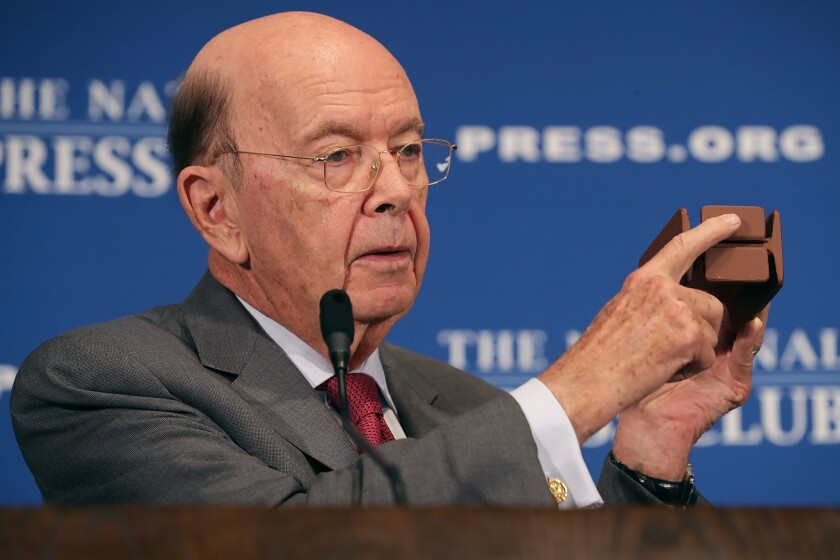 Commerce Secretary Wilbur Ross speaks at the National Press Club on May 14, 2018, in Washington. Ross allowed the 15-person Advisory Committee for the Sustained National Climate Assessment — which included scientists and representatives from companies and local governments — to expire in August.