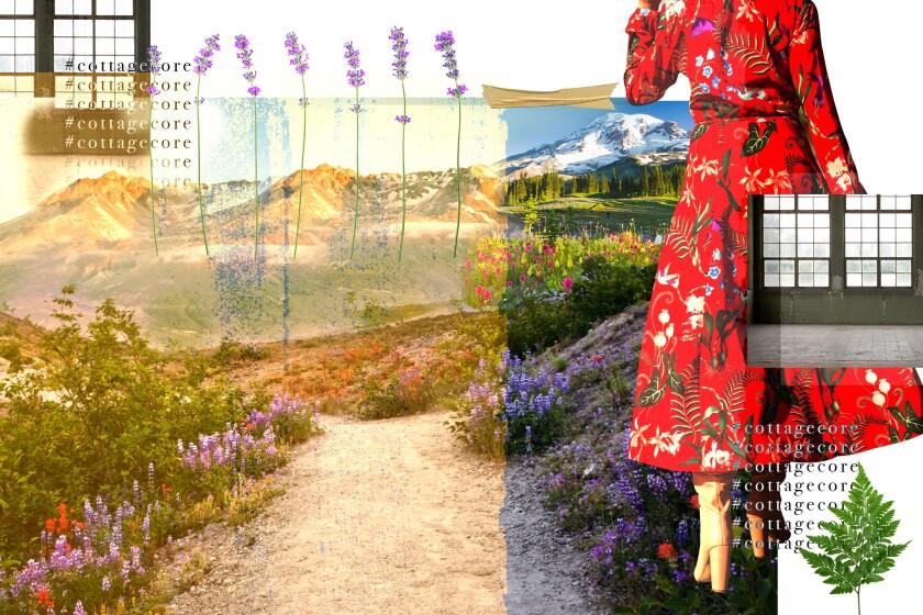 Photo illustration depicts cottagecore settings and aesthetics
