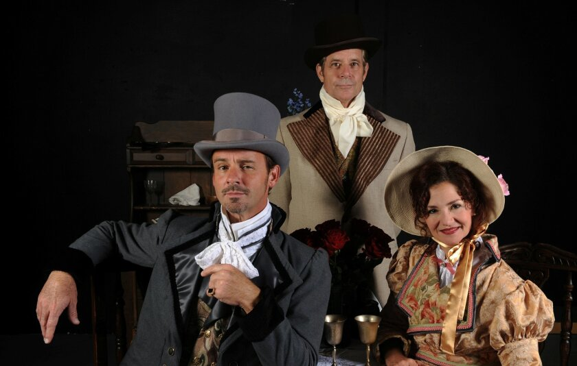 "Randall Dodge, Robert Yakko and Jacquelyn Ritz (left to right) in North Coast Rep's ""Man With a Load of Mischief."""