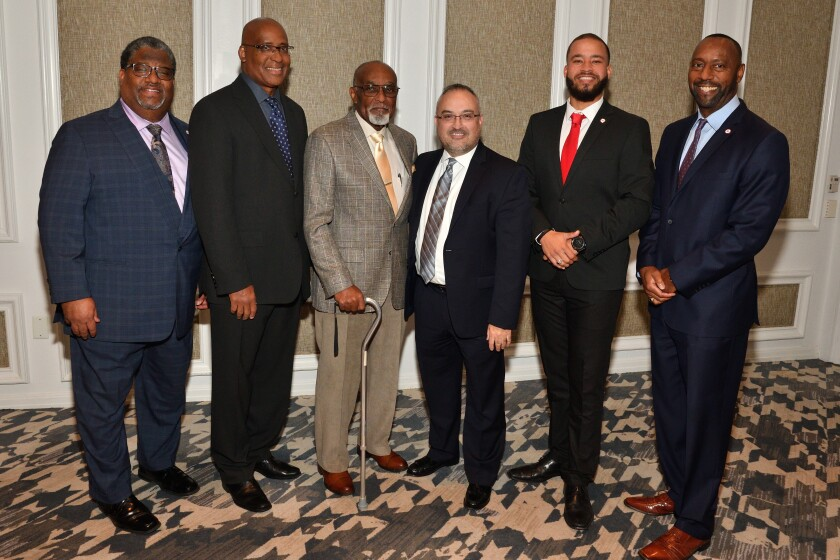 Larry Reed (ULSDC incoming board chair), Ray King (ULSDC president), Cecil Steppe (past ULSDC president), Gustavo Bidart (ULSDC outgoing board chair), Cody Littleton (ULSDC Young Professionals VP), Al Abdallah (ULSDC VP/COO)