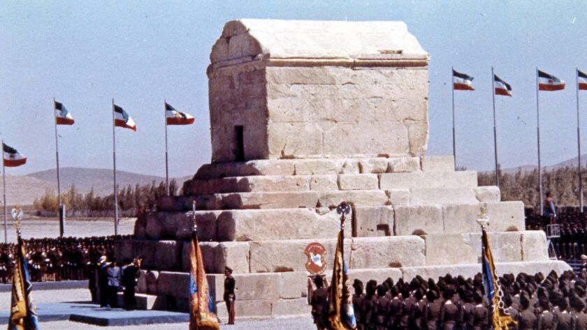 In this Oct. 12, 1971, file photo, honor guards line up during ceremonies to mark the 2,500th anniversary of the founding of the Persian Empire at the Tomb of Cyrus the Great, at Pasargad, Iran.