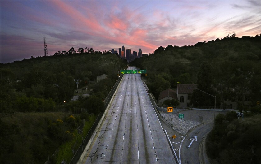 Empty lanes on the Arroyo Seco Parkway, which leads to downtown Los Angeles.