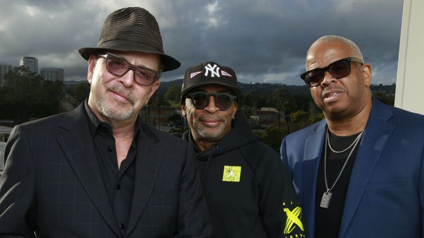 Director Spike Lee, center, with longtime collaborations, composer Terence Blanchard, right, and editor Barry Alexander Brown, left.