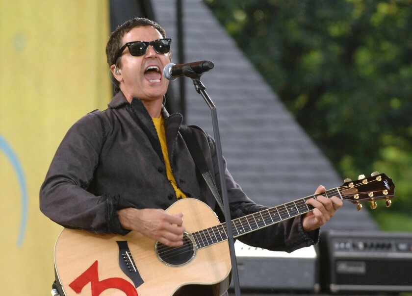 """FILE - In this July 17, 2009, file photo, musician Stephan Jenkins of the music group Third Eye Blind performs on ABC's """"Good Morning America"""" in New York. Video shows Jenkins making political statements during a charity concert at the Rock and Roll Hall of Fame in Cleveland on Tuesday, July 19, 2016. (AP Photo/Peter Kramer, File)"""