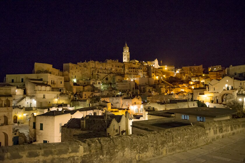 Matera's Sassi, or caves, at night.