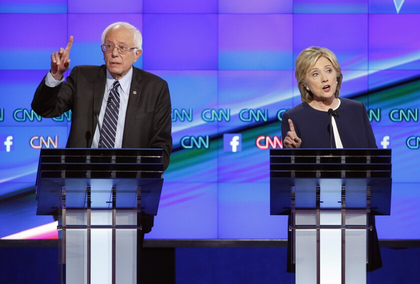Hillary Clinton and Sen. Bernie Sanders face off in a debate in Las Vegas during the 2016 Democratic presidential primary.