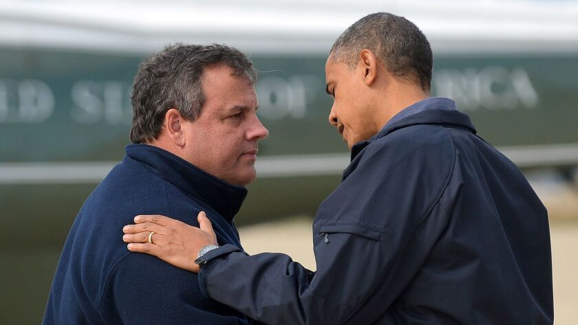 New Jersey Gov. Chris Christie greets President Obama in Atlantic City after Superstorm Sandy in 2012.