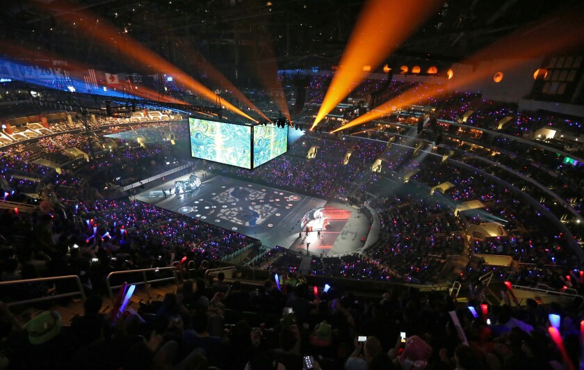 "The ""League of Legends"" world championship tournament is held at the Staples Center in Los Angeles."