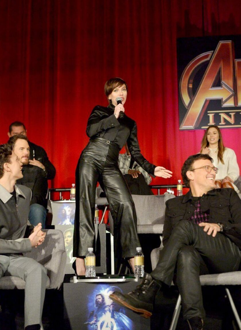 The Stars Come Out For Avengers Infinity War Press Conference But They Re Not Talking Los Angeles Times