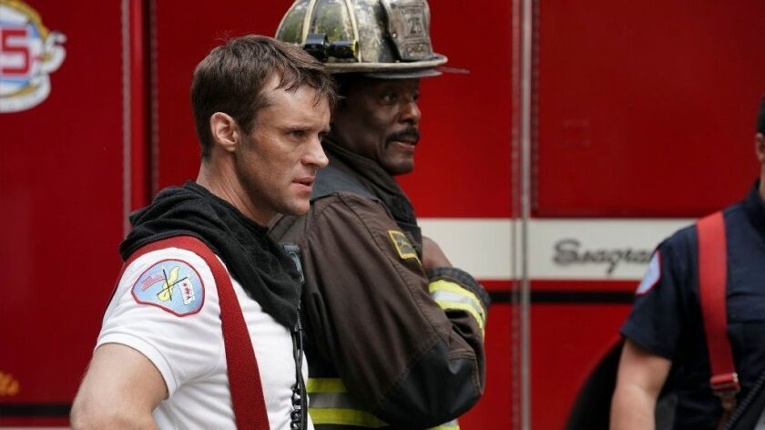 "NBC's three-series crossover event begins on ""Chicago Fire."" With Jesse Spencer, left, and Eamonn Walker."