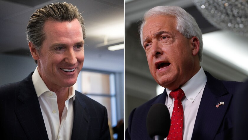 Democratic gubernatorial candidate Gavin Newsom, left, speaks to supporters in Los Angeles. Republic