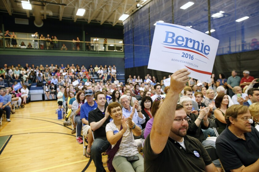 Supporters fill a town hall meeting for Democratic presidential candidate Sen. Bernie Sanders of Vermont at Nashua Community College in Nashua, N.H., on June 27.