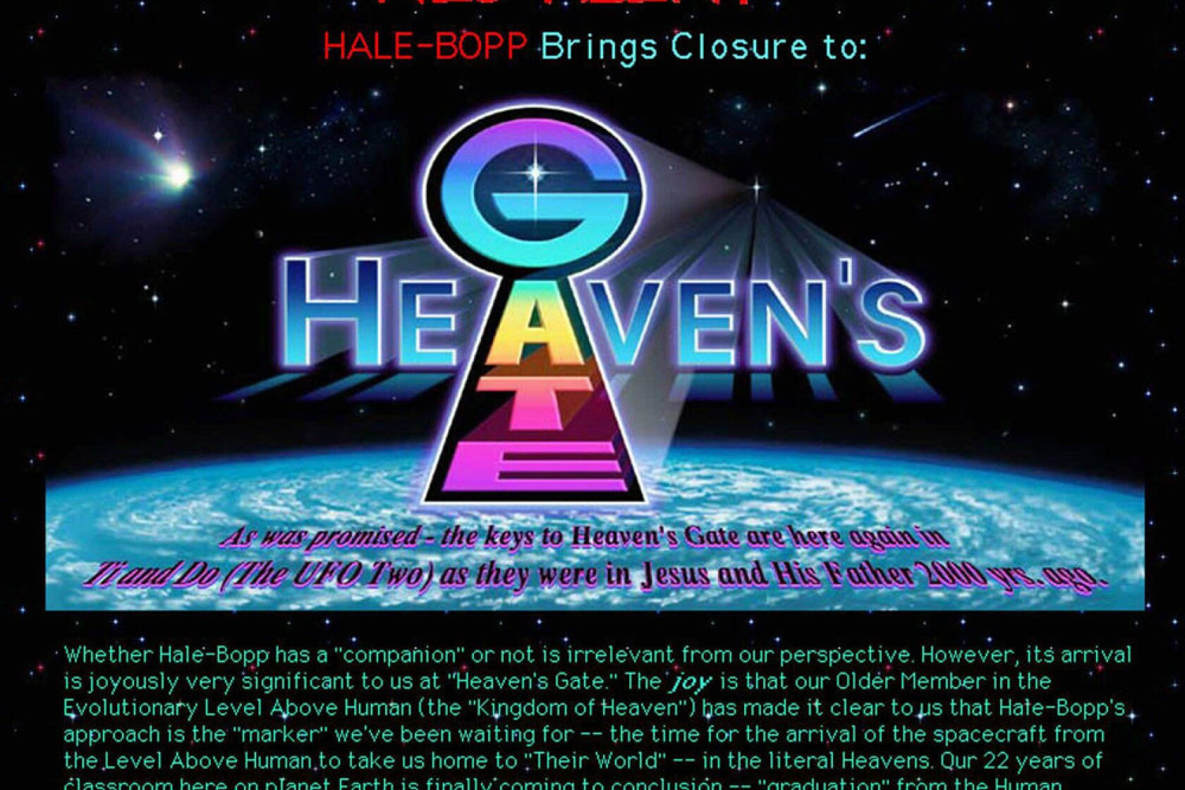 29454dfe5 20 years later, Heaven's Gate lives on — via internet, scholarly ...