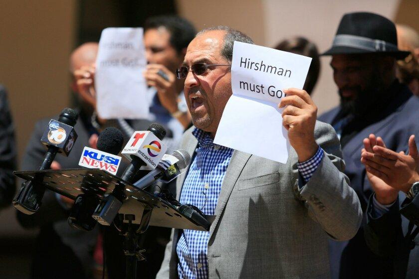San Diego State University graduate Karem Elhams  calls for the resignation of SDSU President Elliot Hirshman on Wednesday.