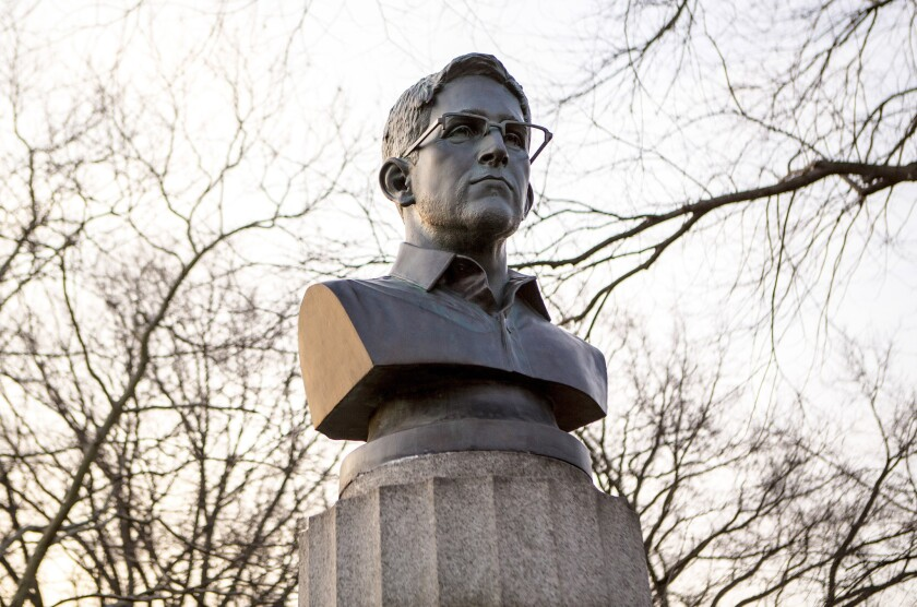 A bust of the former National Security Agency contractor Edward Snowden that was sneaked overnight into Brooklyn's Fort Greene Park in New York on April 6.
