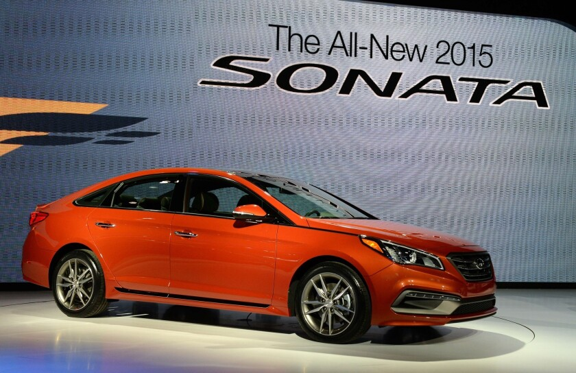 The 2015 Hyundai Sonata is unveiled in April at the Jacob Javits Center in New York.