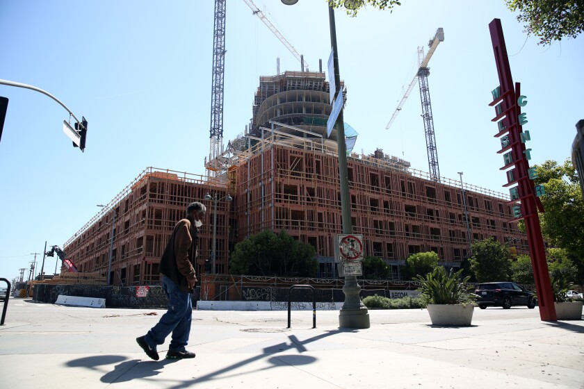 A high-rise apartment complex under construction in Koreatown.